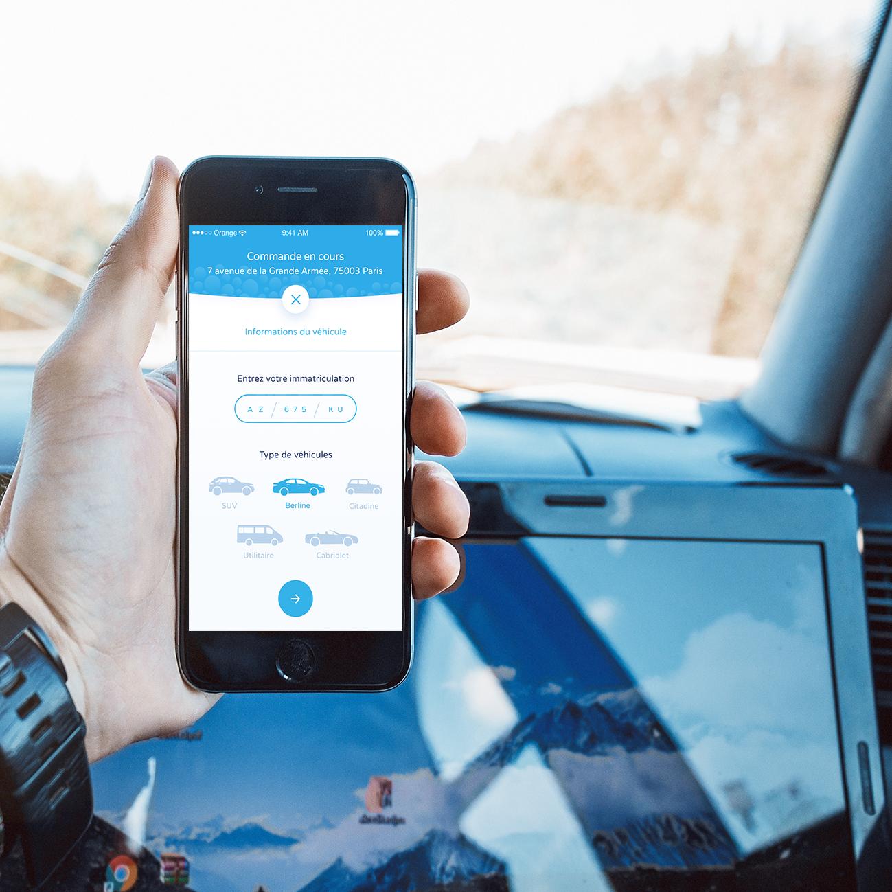 Développement ios bubble car lavage automobile application design marketplace